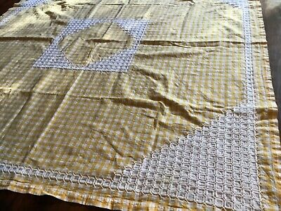 Vintage Gingham Suppercloth Tablecloth cross stitched Yellow