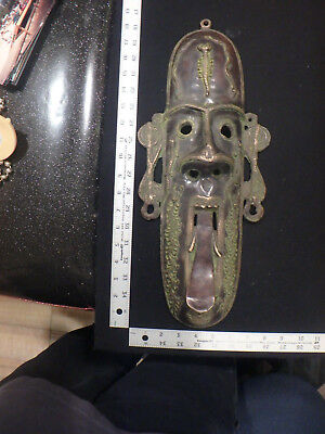 metal mask,mask,vintage,old,rare,antique,heavy,wall,home,office,cast iron,rad