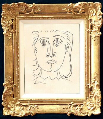 Pablo Picasso Drawing Modernist Cubist French Sketch Portrait