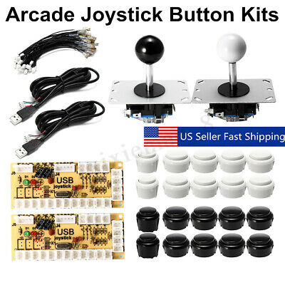 2 Player Arcade DIY Kit Game USB Controller Joystick LED Lighted Push Button US