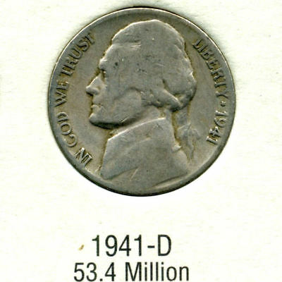 1941 D  JEFFERSON NICKEL SCARCE RARE US AMERICAN OLD NCIE 5 CENT COIN#FIVE-a3508