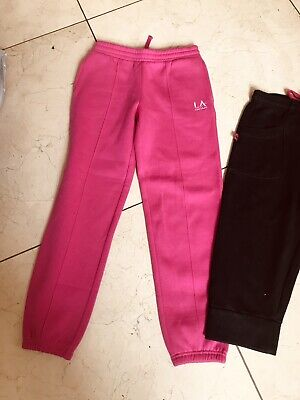 LA GEAR PINK JOGGERS Bnwot AND BLACK CROPPED TROUSERS AGE 9-10