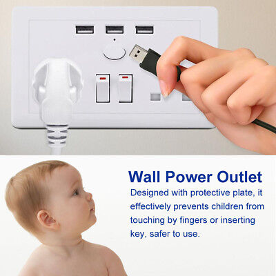 Double Wall Plug Socket 2 Gang 13A with 3 USB Ports Screwless Slim Flat Plate BE