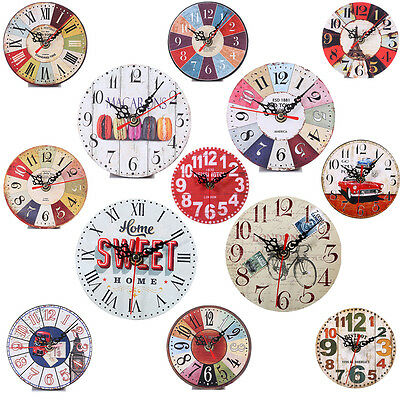 Vintage Rustic Wooden Wall Clock Kitchen Antique Shabby Chic Retro Home Decor zy