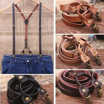 Mens Real Leather Adjustable Wedding Party Suspenders Y-Back Clip-On Braces