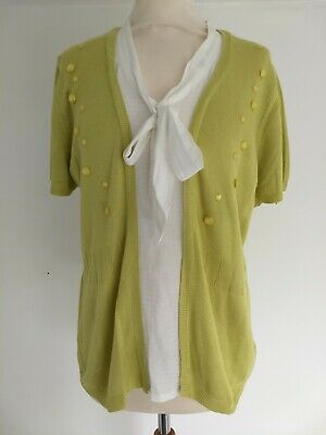 Per Una Marks Spencer Cotton Silk Lime Green Cardigan Jumper Faux Shirt Size 16