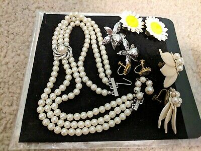 Vintage Necklace And Clip Earrings