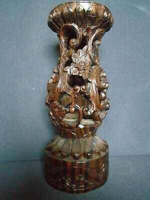 Antique Chinese Carved Huanghuali hardwood Base/stand, late 19th.century. 22cm.H