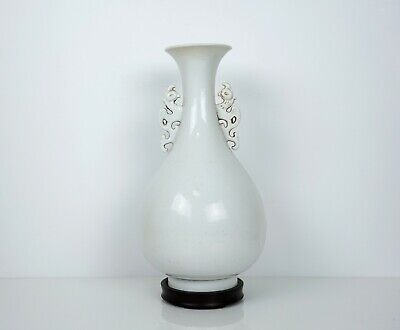 A White-Glazed Olive Shaped Vase with Handles, Wooden Stand