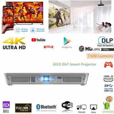 "300"" DLP Android High 7500 Lumens Projector Wifi Bluetooth HD 1080P Cinema HDMI"