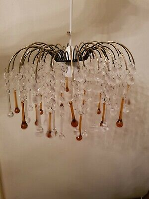Vintage Metal And Plastic Droplets Chandelier Waterfall Style