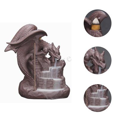 Dragon Backflow Incense Burner Cone Stick Holder Ceramic Smoke Censer Decor Gift
