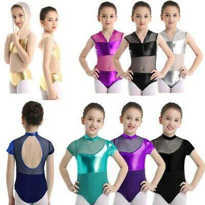 Girls Kids Shiny Ballet Dance Leotard Gymnastics Short Sleeves Dancewear Costume