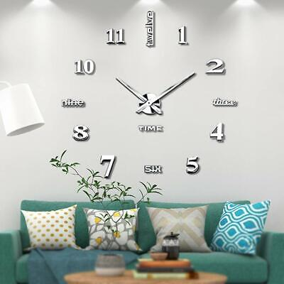 Large 3D Design Mute Wall Clock Luxury Mirror Home Office Decoration DIY Bedroom