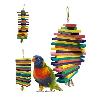 Pet Bird Colorful Wooden Toy Building Blocks Chew Toy Hanging on Parrot Cage AU