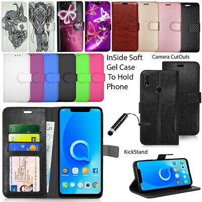 """Case For Alcatel 5V 6.2"""" 5060D Wallet Cover Leather Flip Book + Touch Stylus"""