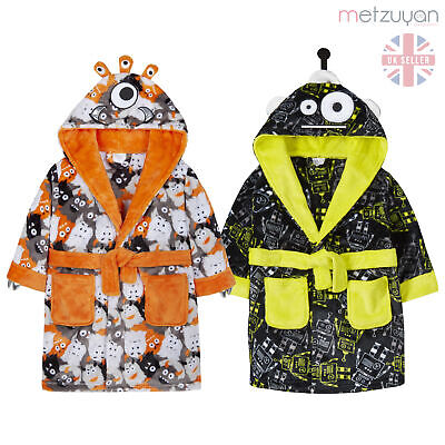 Boys Monster Dressing Gown Robe Plush Fleece Soft Robot Toddler Hooded Novelty
