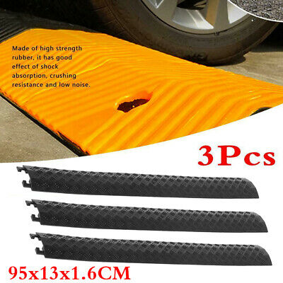 3x Set Rubber Speed Bump Humps Modular Long Road Cable Layout Protector Cover