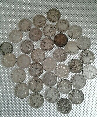 34 Pre 20 Queen Victoria to George V Threepences