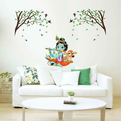 1bbd99be37 Lord Krishna Playing Flute Under Tree Vinyl Decal Wall Sticker Home Room  Decor