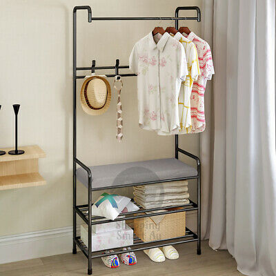 Clothes Cloth Coat Rack Hanger Garment Portable Shoe Rack Hat Hook Bench