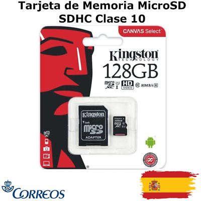 Tarjeta Memoria Micro SD SDHC 32GB 64GB 128GB Kingston - Clase 10 + Adaptador