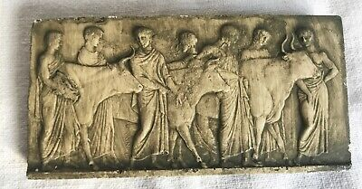 Vintage Plaster Classical Greco / Roman & Bulls Ancient World 1pc Reproduction