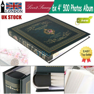 New Large Green Vintage 6'x 4' 500 Photos Slip in Photo Album with Memo Area LV2