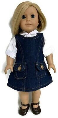 White Blouse & Denim Jumper Dress fits 18 inch American Girl Doll Clothes