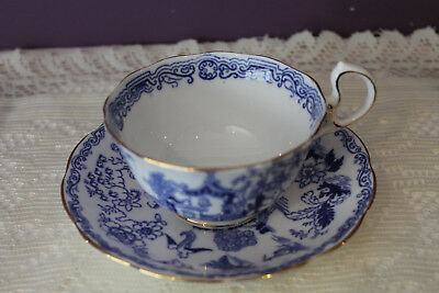Royal Albert Crown China Blue Oriental Scene Tea Cup And Saucer