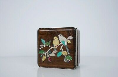 A Stone and Mother of Pearl Inlaid Box with Cover