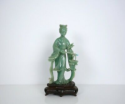 A Green Jade Carving Figure of a Lady with Wooden Stand