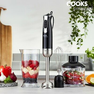 Cooks Professional 1000W 3-in-1 Handheld Stick Blender Food Mixer Whisk 6 Speeds