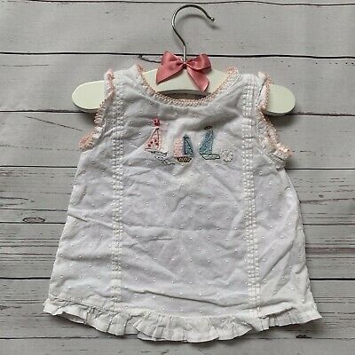 Baby Girls 0-3 Months - Blouse Top - NEXT White Spotted Boats Sleeveless Shirt