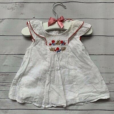 Baby Girls 0-3 Months - Blouse Top - NEXT White Spotted Floral Sleeveless Shirt