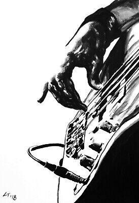 Limited edition Signed Print from Original acrylic painting Guitar playing. 18AL
