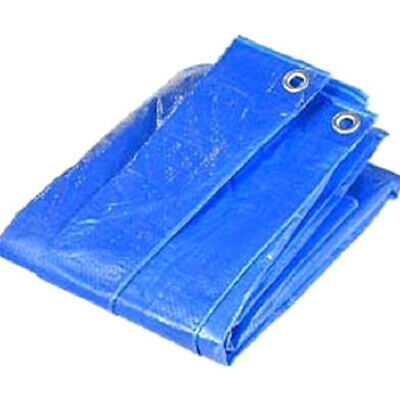 Heavy Duty Blue Waterproof Tarpaulin with Reinforced Edges & Metal Grommets