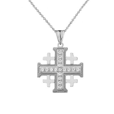 .925 Streling Silver Crusaders Cross Pendant Necklace