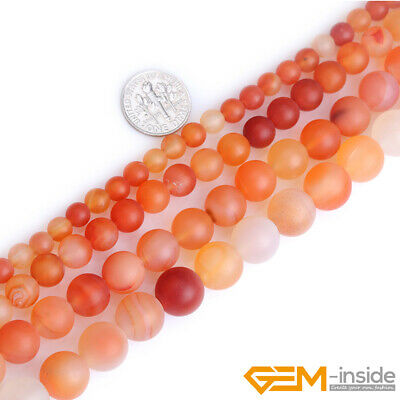 Natural Gemstone Red Carnelian Agate Stone Crystal Forested Matt Round Beads
