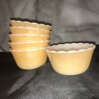 Vintage Fire King Custard Bowls 6oz Item #424 Peach Luster Set of 6 Made In USA