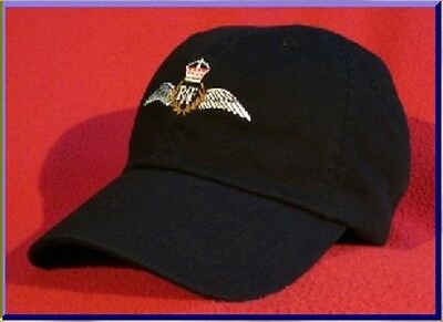 ROYAL AIR FORCE (RAF) Pilot Wings Ball Cap low-profile embroidered BLACK hat