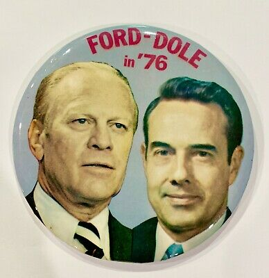 Gerald Ford and Bob Dole 1976 campaign pin button political - GREAT CONDITION!