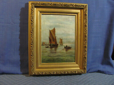Antique O/C Painting of Harbor with Sailboats & Rowboat c.1890's