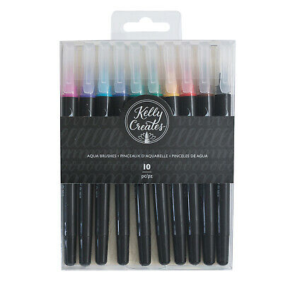American Crafts Kelly Creates Aqua Lettering Brush Pens - Bristle Tip, 10 Pieces