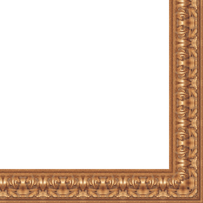 "Picture Frame Moulding (Wood) - Ornate Antique Gold Finish - 3.5"" width - 1 1/16"