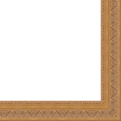 "Picture Frame Moulding (Wood) - Ornate Antique Gold Finish - 4.25"" width - 5/8"""