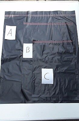 Black Plastic Mailing Bags with Self Seal - Strong Postage Poly Sacks - 3 SIZES