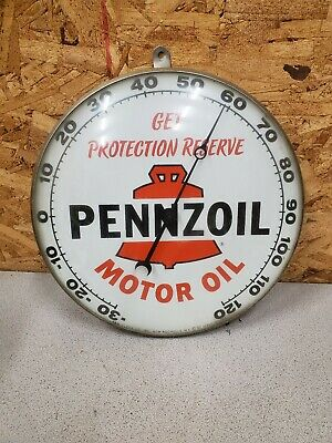 Vintage PENNZOIL Motor Oil Round Face Thermometer, 1962 Pam Clock Co.