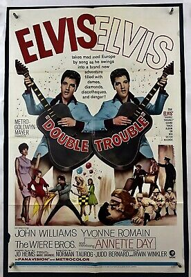 DOUBLE TROUBLE Movie Poster (VeryGood+) One Sheet 1967 Elvis Presley 4070