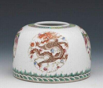 Antique Chinese Porcelain Dragon and Phoenix Brush Ink Pot, circa 1890 to 1910